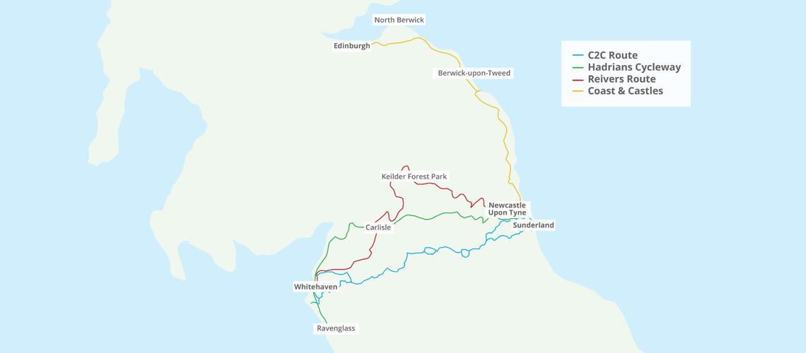 overzichtskaart routes in noord engeland